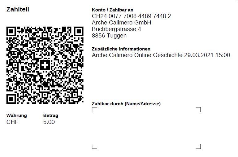 Kita Arche Calimero Online Geschichte QR Zahlung